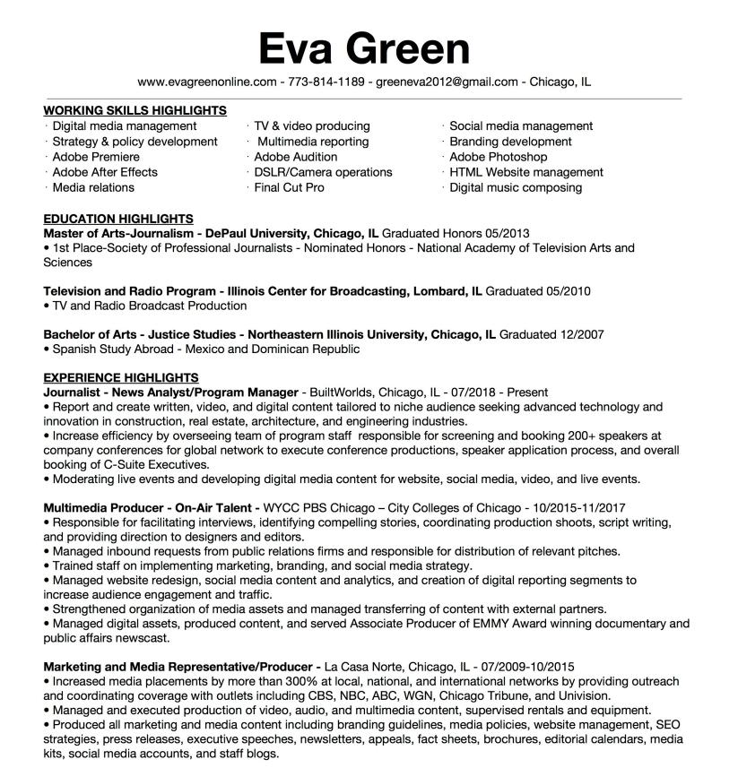Resume Highlights Eva Green